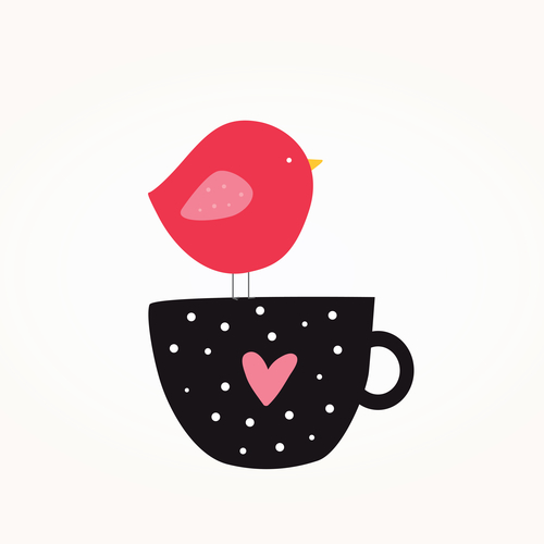 Pink Bird, Black mug with pink heart and white polka dots.