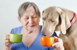 mature gray haired woman drinking tea and offering tea to her dog, green and orange mugs