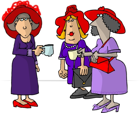 Cartoon of three ladies in red hats drinking tea