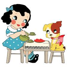 cartoon of girl and dog sitting enjoying tea at a little wooden table