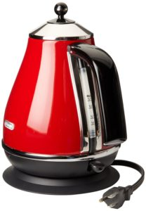 DeLonghi red kbo1401r electric kettle with cord