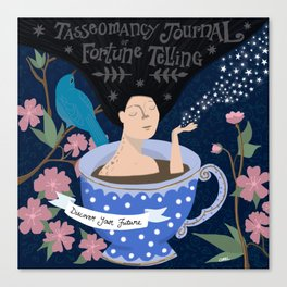 painting of woman's torso in a blue teacup with white polka dots tasseomancy/tasseography tea leaf reading