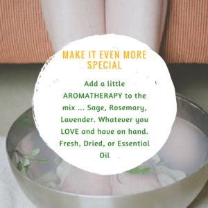 woman soaking her feet in a tea infused beauty ritual silver pot with sage rosemary lavender