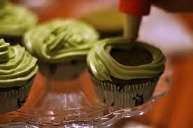 chocolate cupcakes with green tea matcha icing