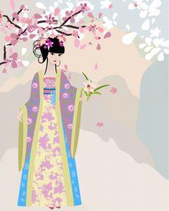 girl holding flower for blossoming tea