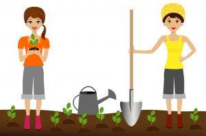 vector of two girls planting a garden with shovel and a watering can