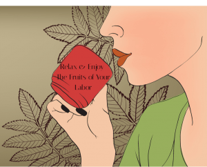 illustration of woman with red lips drinking a cup of tisane, herbal tea